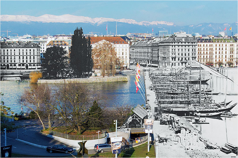 Mt Blanc bridge under construction, from 1861 to present day
